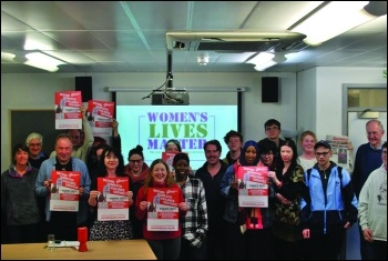 Leicester Women's Lives Matter meeting March 2019, photo Socialist Party