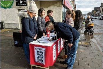 Socialist Party members campaigning against Universal Credit in Cardiff, photo by Socialist Party Wales
