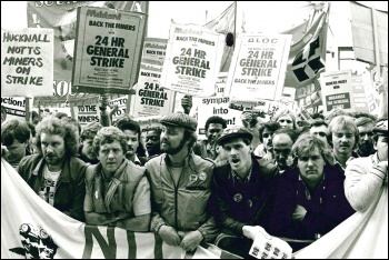 Striking miners lobbying the TUC, photo Dave Sinclair