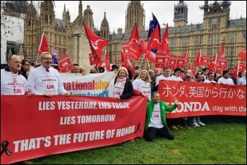 Honda Swindon workers, Belgian supply line workers, and Unite union executive members protesting outside parliament, 6.3.19, photo by London Socialist Party