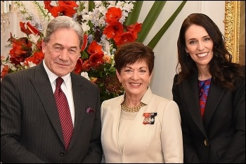 New Zealand's neoliberal Labour prime minister Jacinda Ardern (right) with racist right-populist New Zealand First coalition partner Winston Peters (left), photo by GGNZ/CC