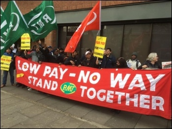 Cleaners on the London Overground strike against low pay on 5 April, photo London Socialist Party, photo London Socialist Party
