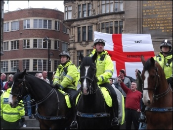 Police facilitated a motley bunch of fascists to voice their racist hate at the Monument in Newcastle, photo N Fray