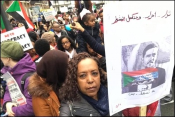 Sudanese protest in central London, 14.4.19, photo by Paula Mitchell