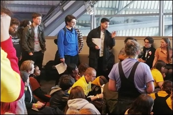 Socialist Students members address a left caucus at NUS conference 2019, photo by William Campbell