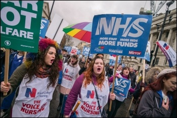 Nurses marching for the NHS, photo Paul Mattsson