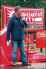 PCS assistant general secretary Chris Baugh speaking at the Waltham Forest TUC May Day festival, 28.5.19, photo by Mike Cleverley