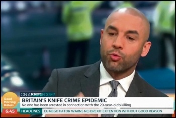 ITV weatherman Alex Beresford told Good Morning Britain that wider social problems are the cause of knife crime, photo by ITV Good Morning Britain