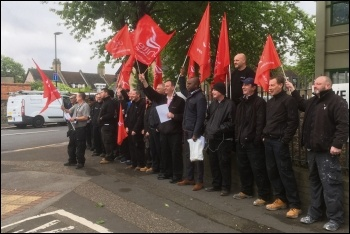 Newham gas safety and housing maintenance workers protesting ahead of threatened strike action, 3.5.19, photo Ian Pattison