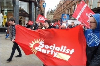 Socialist Party members on the Leeds May Day march, 4.5.19, photo Suzanne Beishon