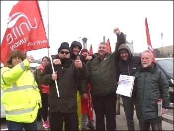 Pickets and supporters at Sellafield, May 2019, photo Robert Charlesworth