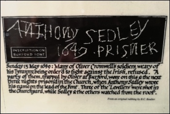 A rubbing of the inscription made by Anthony Sedley before the execution of the leading Levellers
