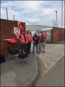 Colloids workers on strike in Kirkby May 2019, photo Neill Dunne