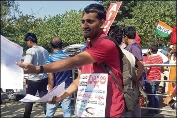 New Socialist Alternative (CWI in India) members campaigning during the historic Indian general strike, January 2019, photo by Calvin Priest