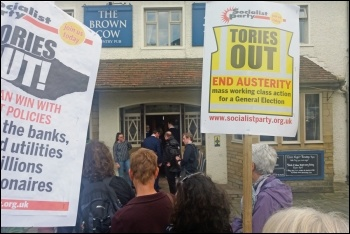 Protesting against Esther McVey in Bingley, 30.5.19, photo by Iain Dalton