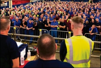 Ford Bridgend workers voting to fight plant closure at mass meetings, 12.6.19, photo by Unite Wales