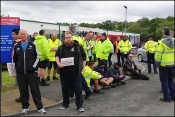 Swansea Parcelforce workers picketing their depot against rep victimisation, 12.6.19, photo by Swansea Socialist Party