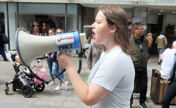 A speaker at the youth climate change protest in Newcastle, 21.6.19, photo by Elaine Brunskill