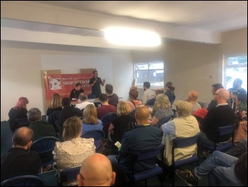 Packed NSSN meeting in Bridgend addressed by Rob Williams, photo Gareth Bromhall