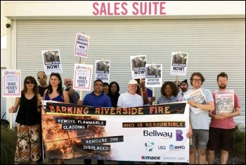Barking Riverside residents protest outside the estate sales office, 29.6.19, photo by Ian Pattison