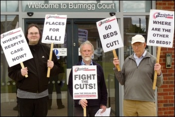 Carlisle Socialist Party members protest against cust to care home beds, photo by Robert Charlesworth