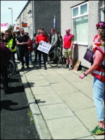 Protesting against an eviction in Liverpool's Kensington area, 4.7.19, photo by Roger Bannister