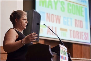 Glasgow equal pay striker Lyn Marie O'Hara at the NSSN conference, 6.7.19, photo by Mary Finch