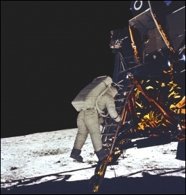 Astronaut Buzz Aldrin during the first moon landing, photo by Nasa