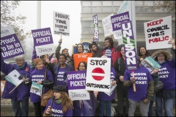 Barnet Council workers on strike against outsourcing in 2015, photo Socialist Party