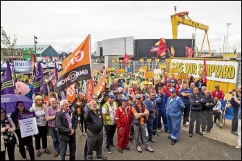 Workers occupying Harland and Wolff shipyard, Belfast, July 2019, photo CWI