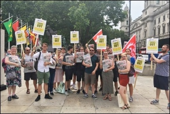 Socialist Party members sold over 80 copies of the Socialist across the two protests against Boris Johnson on 10 and 11 July 2019, photo Ian Pattison