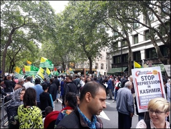 Mass protest outside the Indian High Commission on 15.8.19 over repression in Kashmir, photo Scott Jones, photo Scott Jones