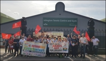 Bromley library workers protesting outside GLL tennis centre in Islington, supported by the NSSN and members of the Socialist Party, 21st August 2019, photo Isai Priya
