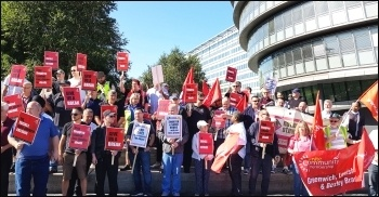 Unite members fighting for better conditions on London buses, photo Isai Priya