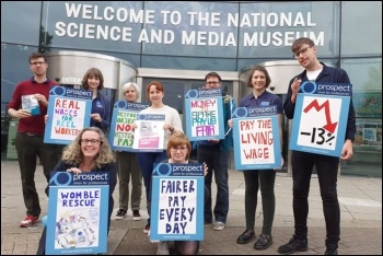 National Science and Media Museum staff on strike in Bradford, 30.8.19, photo Iain Dalton