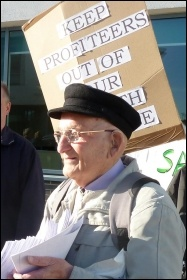 Claude out campaigning against NHS privatisation, photo Suzanne Beishon