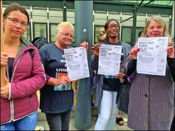 BEIS strikers joined on the picket line by socialist PCS general secretary election candidate Marion Lloyd (right),  photo Paula Mitchell