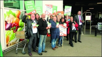 GMB union members protest outside Asda in South Shields, photo Elaine Brunskill