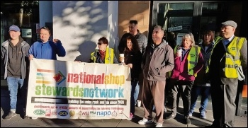 PCS union members are joined by NSSN chair Rob Williams on their DVSA picket line in Nottingham, photo by Gary Freeman