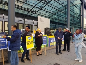 PCS union members continuing their strike action for pay justice and to be brought back in-house at the 'Business, Energy and Industrial Strategy government department, photo London Socialist Party