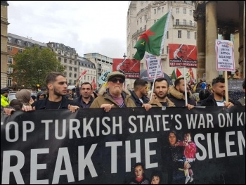 Around the country, Socialist Party members joined solidarity demonstrations opposing the Turkish state's invasion of northern Syria and in support of Kurdish self-determination, photo London Socialist Party