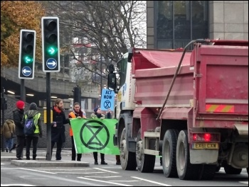 Extinction Rebellion blocking a road,