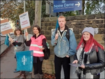 NEU pickets at Notre Dame sixth-form college, photo Iain Dalton, photo Iain Dalton