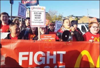 Wandsworth Town McDonald's strike protest. Tuesday 12th November 2019. Photo Isai Priya