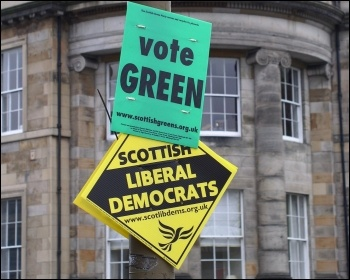 The Green Party have entered into an electorial alliance with pro-austerity Lib Dems, photo