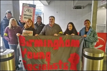 RMT picket line joined by Birmingham Socialist Party, 16.11.19