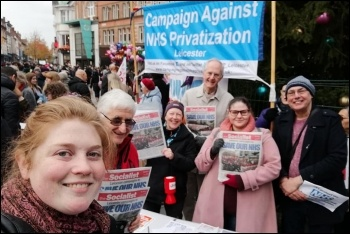Socialist Party members on the demonstration to save Leicester General Hospital, 16.11.19, photo by Leicester Socialist Party