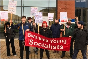 Socialist Students protesting against Hillary Clinton's visit to Swansea University, 15.11.19, photo by Swansea Socialist Students