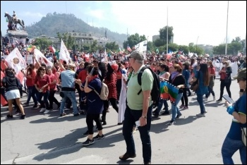 Marching against the government in Chile, November 2019, photo Socialismo Revolucionario (CWI Chile)