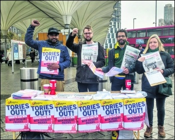 Socialist Party campaigning to get the Tories out and Corbyn in with socialist policies, photo Socialist Party